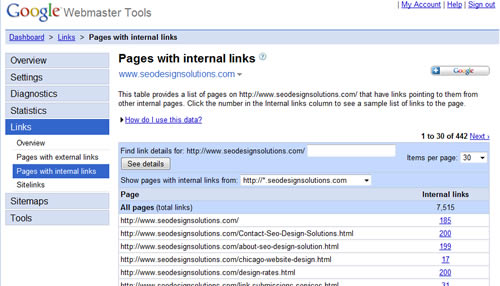 google-internal-links