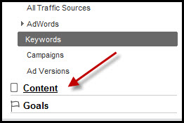 Select Content Link in Google Analytics