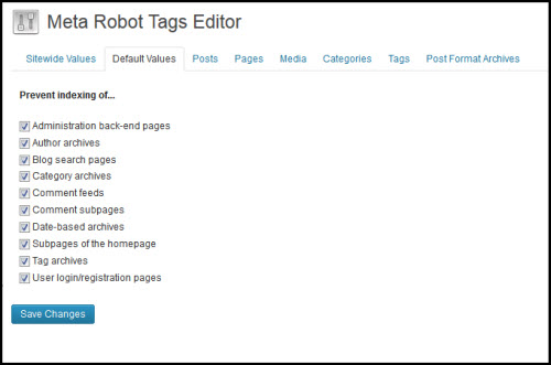 Control default settings, pages, posts, media or term archives with the Meta Robot Tags Editor